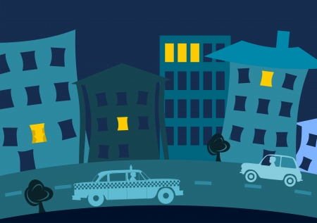 Background with urban street with houses and cars at night  Vector