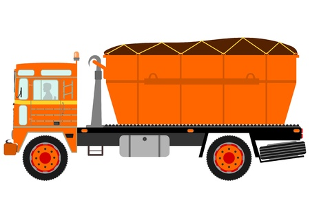 worksite: Silhouette of garbage truck