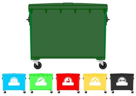 poubelle bleue: Les bacs de recyclage fix�s Illustration