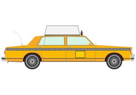 Yellow cab on a white background