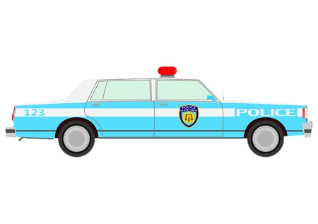 Retro police car on a white background  Vector
