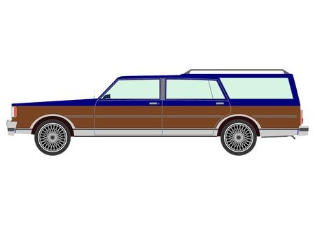 family van: Retro station wagon on a white background