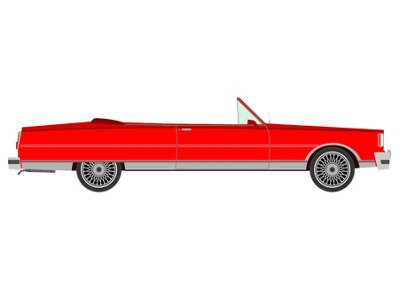 cabrio: Red retro cabriolet Illustration