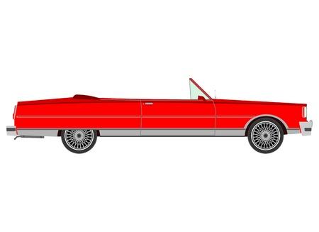 cabriolet: Red retro cabriolet Illustration