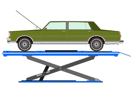 lifted: Car lifted in the workshop Illustration