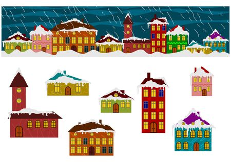 Winter houses set  Create your own town Vector