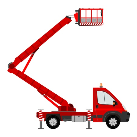 crane truck: Small bucket truck Illustration