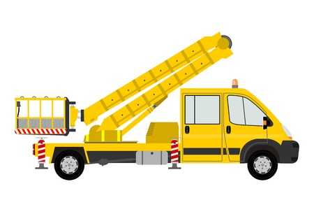 crane bucket: Small bucket truck Illustration