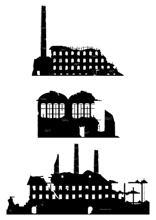 collapse: Industrial ruins on a white background