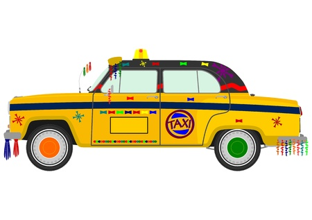yellow cab: Retro Indian taxi