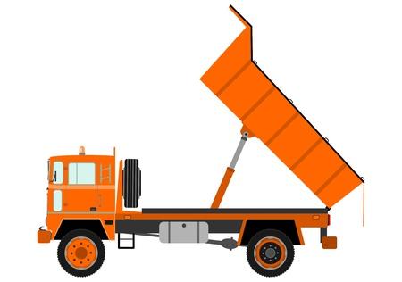 dump truck: Orange dump truck