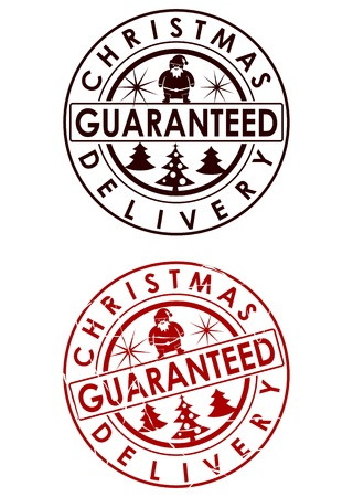 Christmas delivery guaranteed stamp Vector