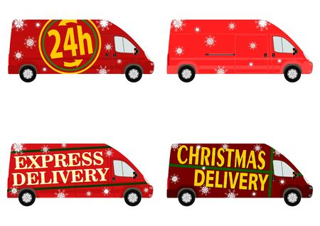 Christmas delivery van set Vector