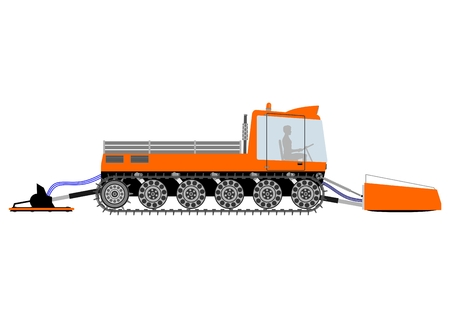 snowcat: Silhouette of snow groomer on a white background