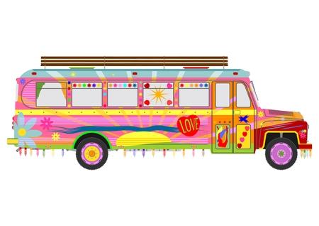 Kleurrijke hippie bus