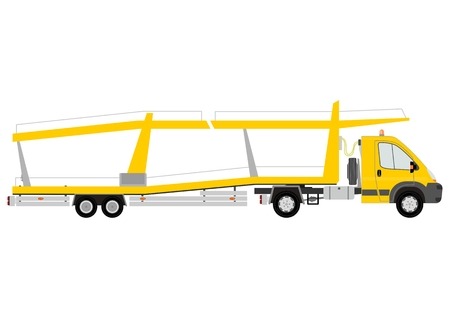 Car transporter on a white background Vector