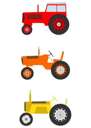 Retro cartoon tractor set Vector