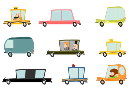 Colorful cartoon car set on a white background  Vector