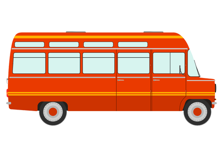 minibus: Orange retro minibus on a white background