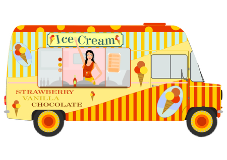 Ice cream van with vendor inside  Vettoriali