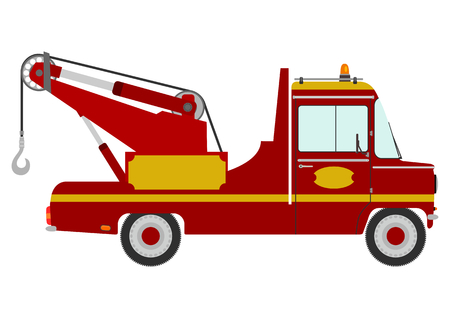 Red retro tow truck on a white background  Vector