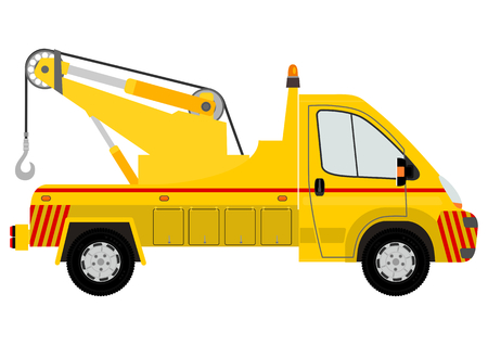 truck repair: Yellow tow truck silhouette on a white background