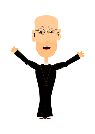 clergyman: Cartoon priest on a white , easy to add to any design