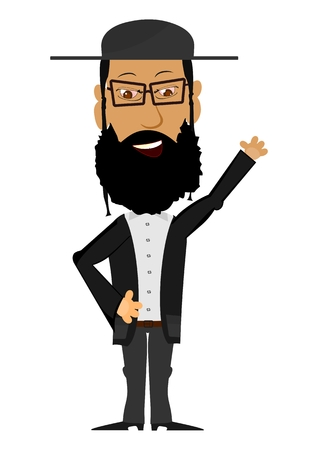 yiddish: Cartoon Rabbi su uno sfondo bianco