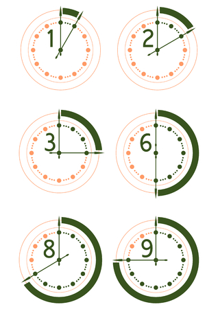 Set of icons of hours on a white background  Vettoriali