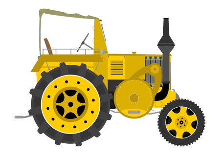 Silhouette of a vintage tractor on a white background  Vector