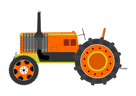 Silhouette of a vintage tractor on a white background  Illustration