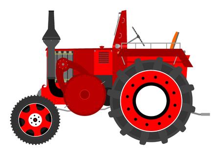 old tractor: Silhouet van een vintage tractor op een witte achtergrond Stock Illustratie