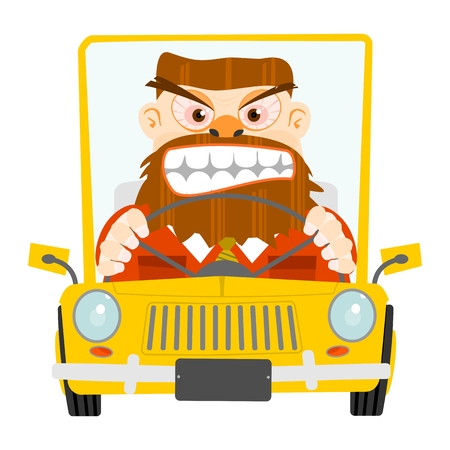 yellow car: Road rage illustration