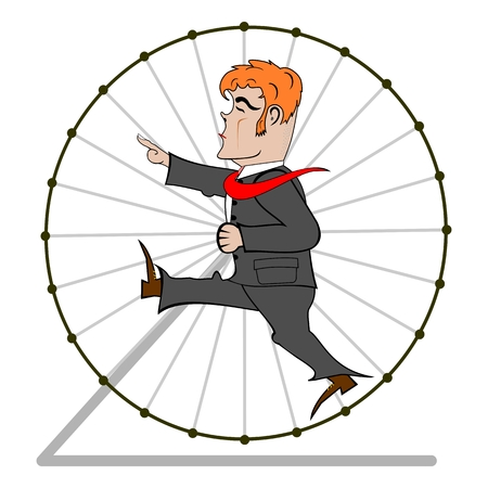 Retro illustration with businessman in a hamster wheel  Vector