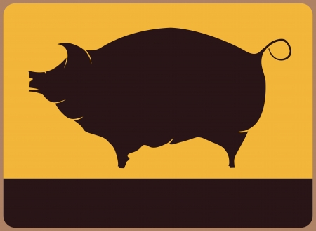Retro information plate with pig illustration  Vector
