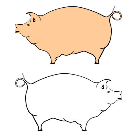 Pig silhouette illustration  Vector