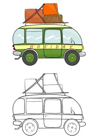 minivan: Cartoon minivan coloring page illustration  Illustration