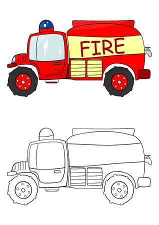 engine flame: Fire truck coloring page illustration