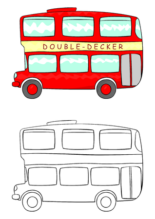 Cartoon double decker illustration  Vector