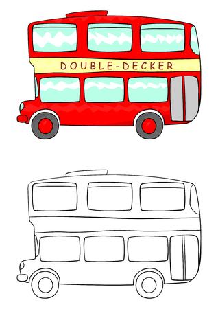 double page: Cartoon double decker illustration