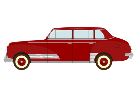 restored:  Silhouette of vintage car on a white background  Illustration