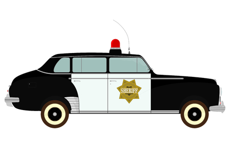 on duty: Silhouette of vintage police car on a white background