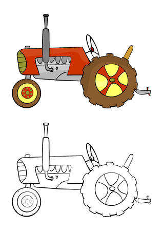 traction device: Coloring page with a cartoon tractor on a white background