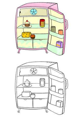 Coloring page of an open refrigerator on a white background  Vectores