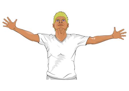 white t shirt: Man wearing white t shirt Illustration