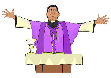 The Catholic priest celebrating Mass at the altar