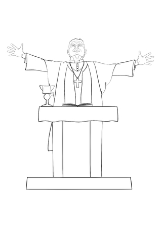 The Catholic priest celebrating Mass at the altar  Vector
