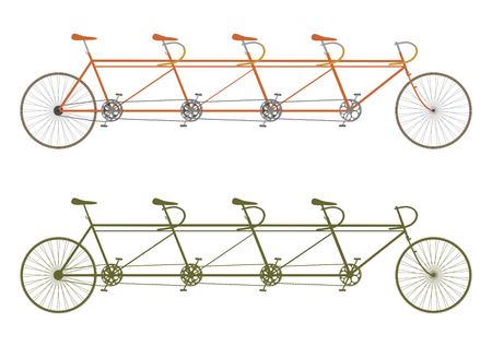 Silhouette of a vintage four seater tandem bike Vectores