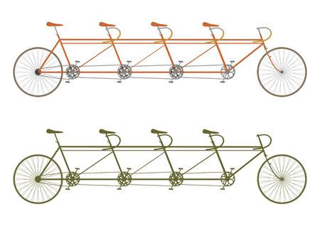 Silhouette of a vintage four seater tandem bike Illustration