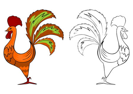 Coloring page of folk rooster on a white background  Vector